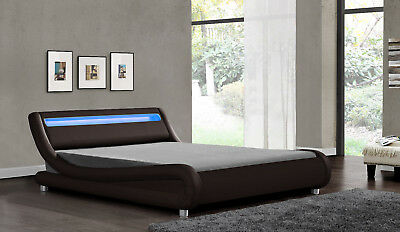 Double King Size LED Headboard Bed Black White Brown Faux Leather & Mattress