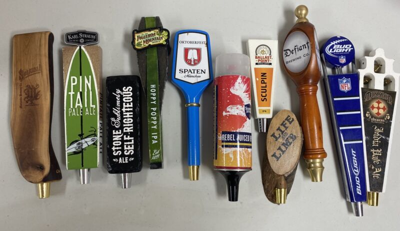 Instant collection! Nice Lot Of 11 random BEER TAP HANDLES-STONE-SCULPIN-MISSION