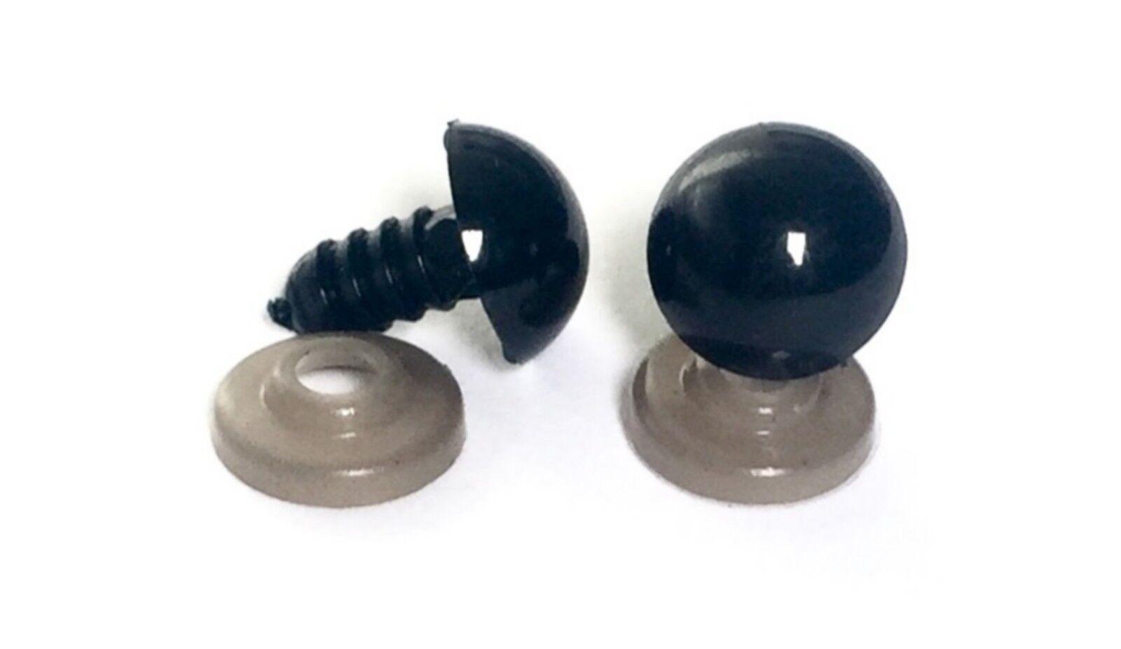 5mm - 40mm Black Plastic Safety Eyes Amigurumi Soft Toy Teddy Bear Craft Animal - 5