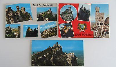 3x SAN MARINO Postkarten Ansichtskarten Lot 1x ungelaufen / 2x gelaufen gebr.