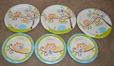 Lot Happi Tree Baby Shower Sweet Owl Paper Plates Lunch Boy Party Blue - Owl Paper Plates