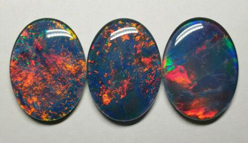 3 Large Australian 30 X 22 mm Oval Cut Opal Triplets Made in Australia For Sale