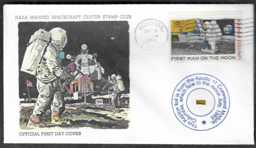 Apollo 11 - Official 1st Day Cover  w/Gold Kapton Foil FLOWN  To The Moon - Blue