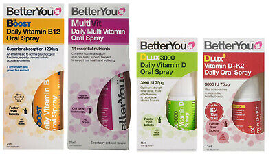 BETTERYOU Oral Spray DLux 3000 Vitamin D, K2, B12 Boost, MultiVitamin Better (Best B12 Oral Spray)