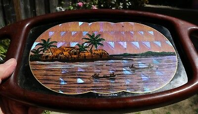 Art-Deco Butterfly Wing Souvenir Tropical Hardwood Tray from Panama 17
