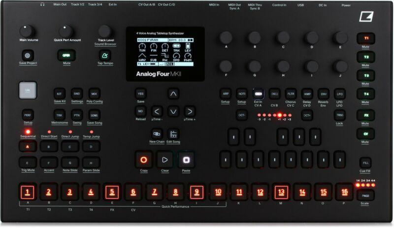 Elektron Analog Four MKII Black 4-voice Analog Synthesizer with Sequencer