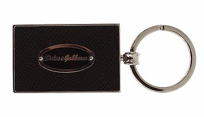 NWT DOLCE & GABBANA Silver Brass Brown Leather Branded Finder Chain Keyring