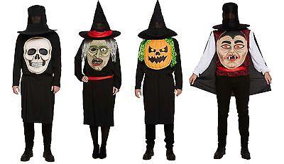 Halloween Vampire Faces (Mens Ladies Halloween Jumbo Face Skeleton Pumpkin Vampire Fancy Dress)