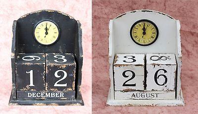 Dauerkalender mit Uhr 14B142 Shabby Standuhr 25 cm Vintage Würfel Kalender Holz (Stand Kalender)