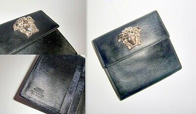 Gianni Versace Black Leather Medusa Head Wallet. Vintage 1990s.Rarely Used.