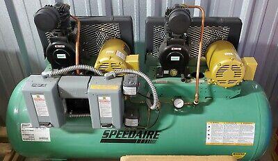 Speedaire 5z700c 80 Gal. Horiz Tank Mounted Duplex 1-12hp Elec Air Compressor