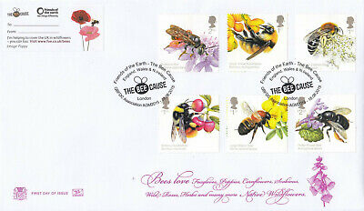 (43446) GB Stuart FDC Bees Bee Cause Friends of the Earth London (The Bee Cause)