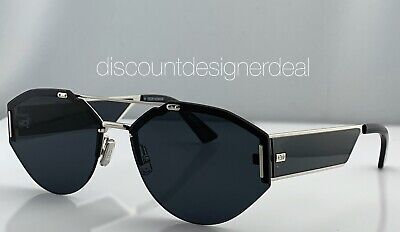 DIOR HOMME 0233S Sunglasses Palladium Frame Gray Lens & Temples 0102K 62mm NEW