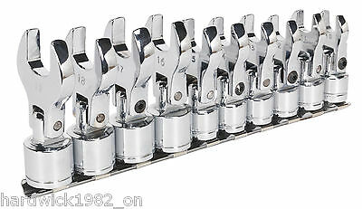 BRAND NEW! 10 PIECE FLEXIBLE HEAD CROWS FOOT CROW FEET SPANNER WRENCH SET