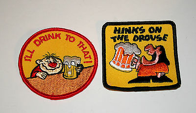 2 Vintage Rare Campy Beer Drinking Patches Patch New NOS 1970s slogan
