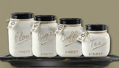 New Primitive Farmhouse Chic MASON JAR CANISTER SET Crock Flour Sugar Coffee Tea