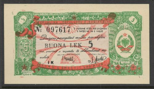 Albania 1953 5 Leke Foreign Exchange Note  P-FX5 CU