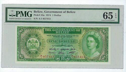 BELIZE 1 $ 1974  PMG 65 GEM UNCIRCULATED EPQ P.33A QUEEN ELIZABETH II