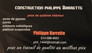 Construction Philippe Barrette pose de gypse et joint