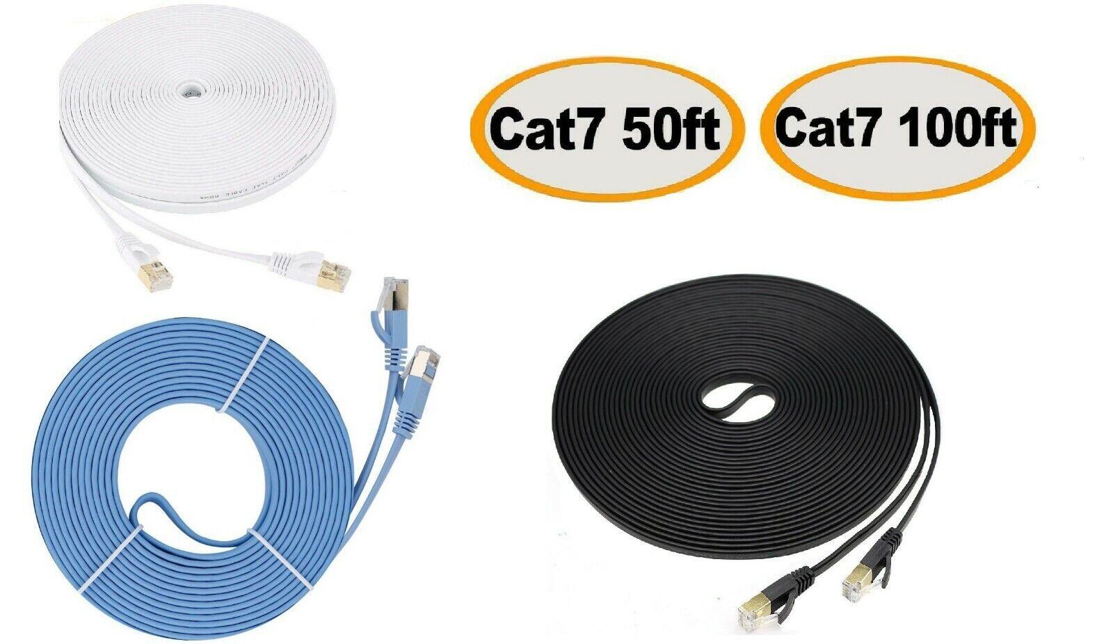 Cat7 RJ45 Ethernet Flat Patch Network LAN Shielded Internet Cable 50ft 100ft US Computer Cables & Connectors