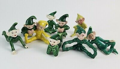 Set of 9 Vintage PIXIE ELVES Green Yellow Gilner?