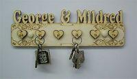 Six Hook Heart Shapes, Pesonalised Key Hanger Wooden Key Holder Wedding E1 -  - ebay.co.uk