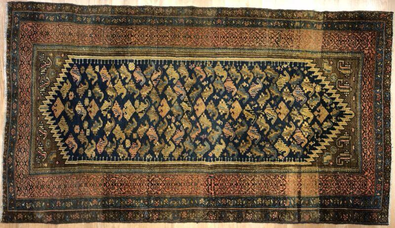 Perfect Persian - 1900s Antique Kurdish Rug - Tribal Carpet - 3.8 X 6.7 Ft.