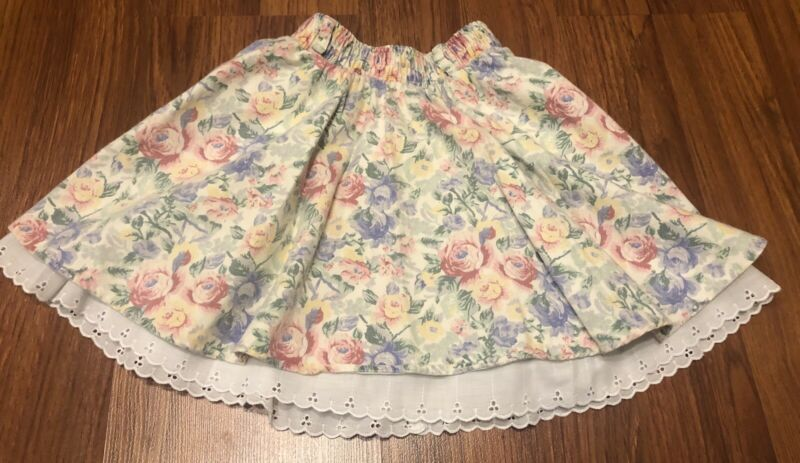 Girls Kids Vintage SWAT Floral Flower Cotton Lace Lined Skirt Size 6X USA Made