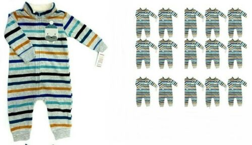 Carter's 6M Baby 1-Piece Striped Zip-Up Fleece Sleep & Play, Walrus-Lot of 15