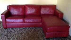 Like new soft leather lounge with chaise - pick up only Turramurra Ku-ring-gai Area Preview