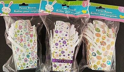 Easter Mini Favor Boxes with Handles Decorated w Easter Theme Prints