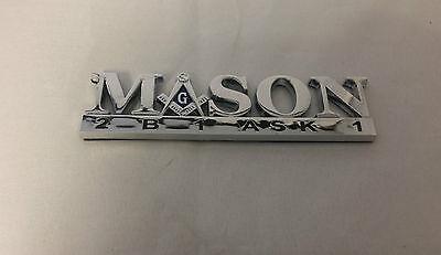 Mason Masonic 2B1 Ask1  Car Emblem-New!