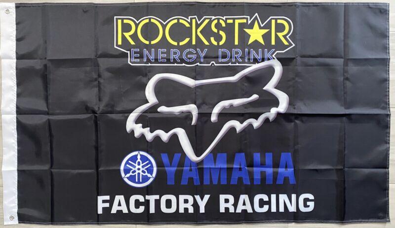 YAMAHA FACTORY RACING Fox rockstar 3x5ft FLAG BANNER DRAPEAU MAN CAVE GARAGE