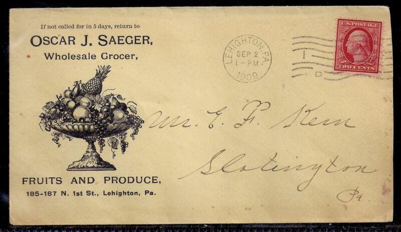 1909 Illustrated Fruits & Produce Ad Cover - Lehighton, Pennsylvania