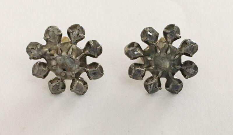 Antique Georgian Rose Cut Diamond Earrings