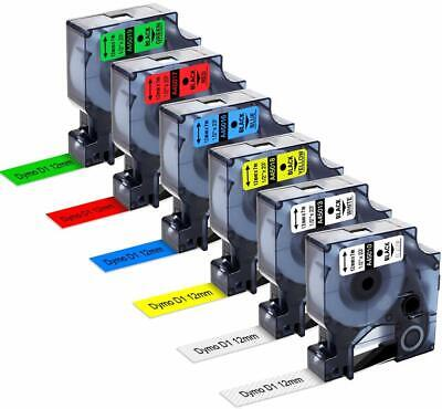 Replace Dymo D1 12mm Label Tape 45013 45010 45016 45017 45018 45019 6-pack