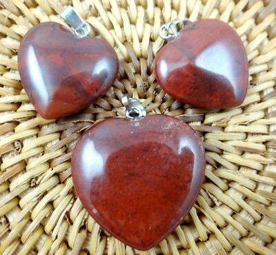 Red Jasper Heart Necklace - 3PC Unique red jasper Heart-shaped pendant Gem necklace earring Jewelry Making
