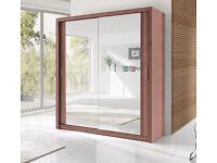2 Door Sliding Mirrored Cabinet Wardrob- Brand New in Black Brown Oak White Walnut colours