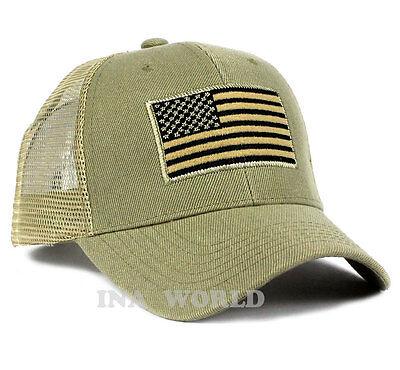USA American Flag hat Mesh Tactical Operator Snapback Baseball cap- Khaki Beige