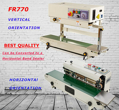 Continuous Band Bag Sealer Machine Vertical Mode Fr-770 With Bracket 110v