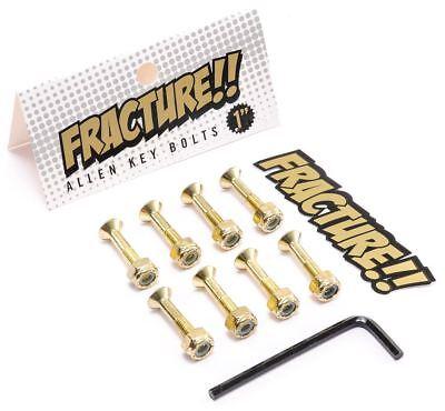"Fracture 1"" Skateboard Skate Hardware Allen Bolts - Gold FREE STICKERS!"