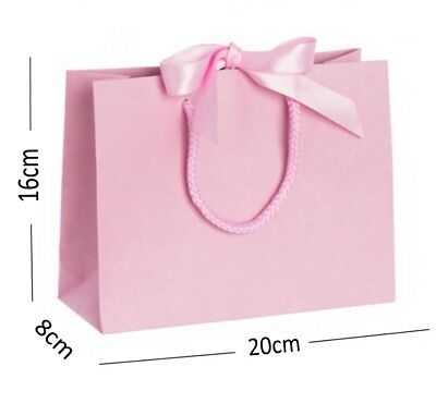 Pale Pink Boutique Shop Small Ribbon Gift Bags - Rope Handle Jewellery Bag (Pale Pink Ribbon)