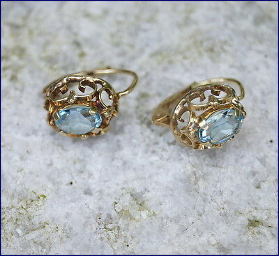 Antike Ohrringe mit Blautopas?? - Gold 585 - 14 Karat  (# 6127)