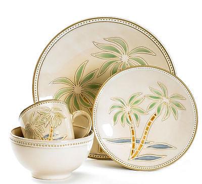 Pfaltzgraff Palm 16-Piece Stoneware Dinnerware Set, Service