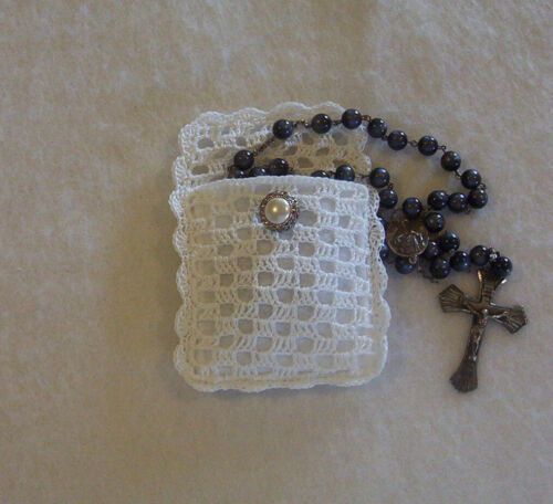 Filet Crochet White Rosary Jewelry Pouch Case
