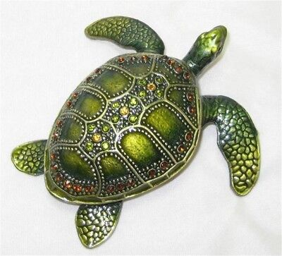 Tropical Green Sea Turtle Jeweled Trinket Box Hinged Austrian Crystals Austrian Crystal Jeweled Pewter Box