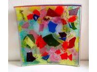 Colourful Art Glass Dish Plate
