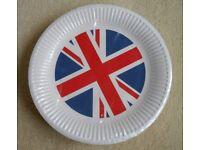 NEW 50 Pack of Union Jack Paper Plates UK Britain Royal Wedding