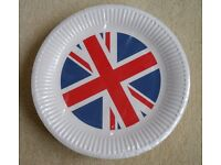 NEW Union Jack Paper Plates UK Britain Barbecue BBQ Party x 50