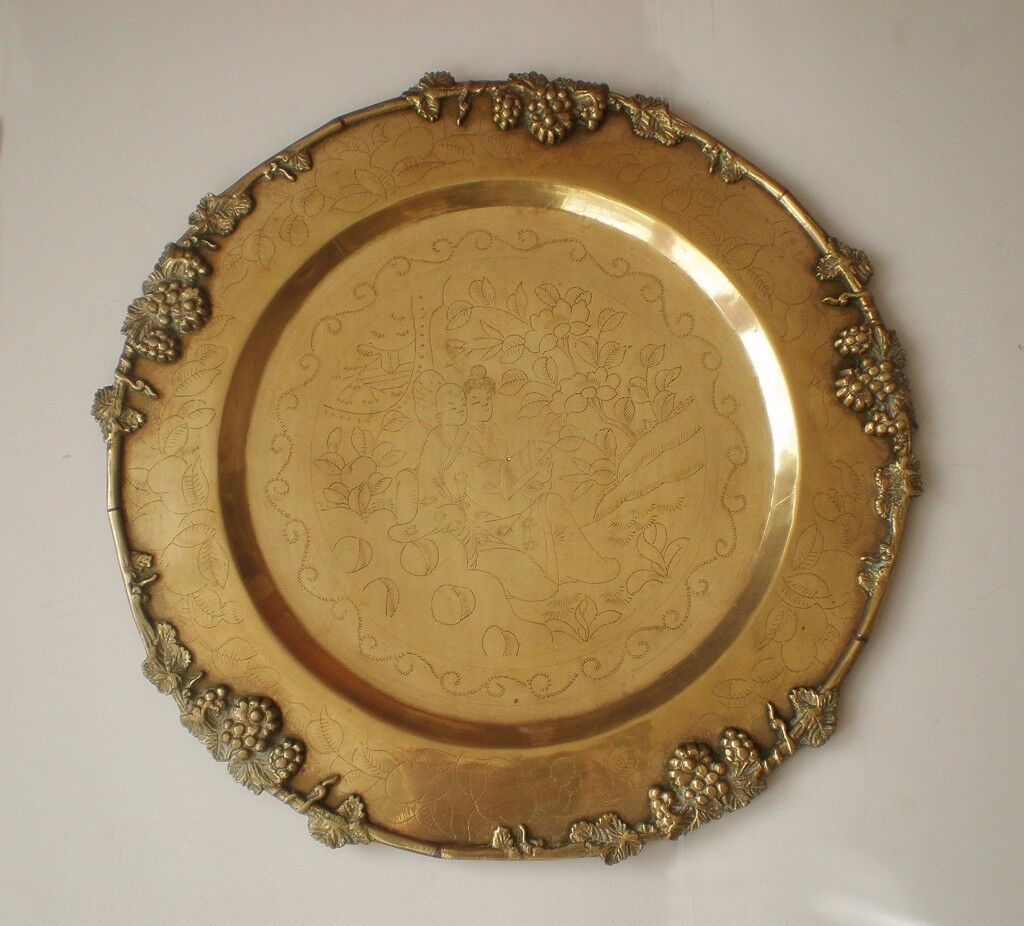 Large antique Japanese tray made of brass, ca. 1900